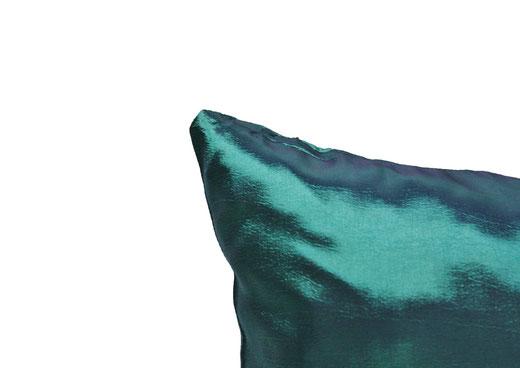 タイシルク クッションカバー  シンプル デザイン エメラルド グリーン 【Simple Design , Emerald Green】 の商品画像02