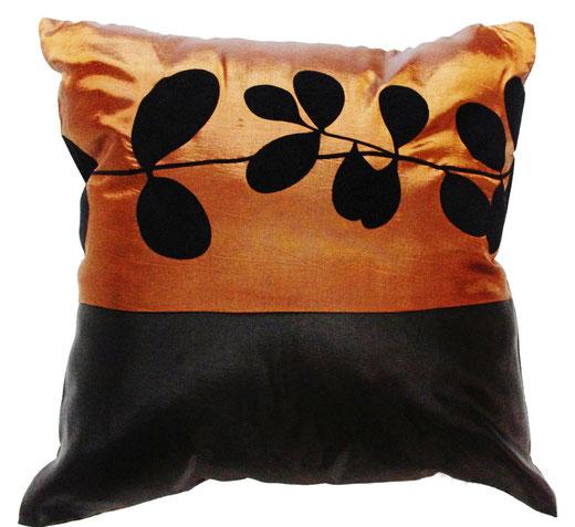 タイシルク クッションカバー  リーフ デザイン ブラウン 【Leaf Design , Brown】 45×45cm 対応の商品写真01