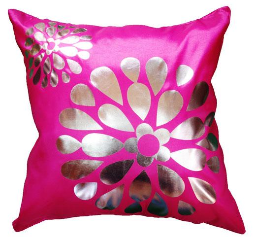 タイシルク クッションカバー  フラワー デザイン ピンク 【Flower Design , Pink】 45×45cm 対応の商品画像01