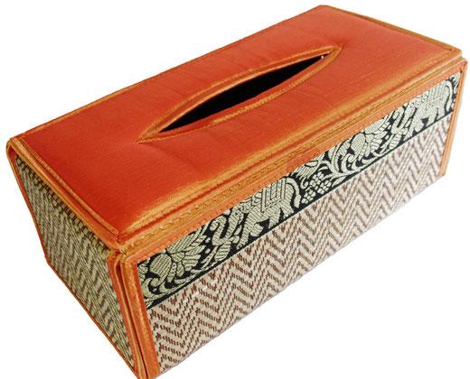 タイシルク アジアン ティッシュ ボックス ケース オレンジ 【Elephant design, Orange】の商品画像01