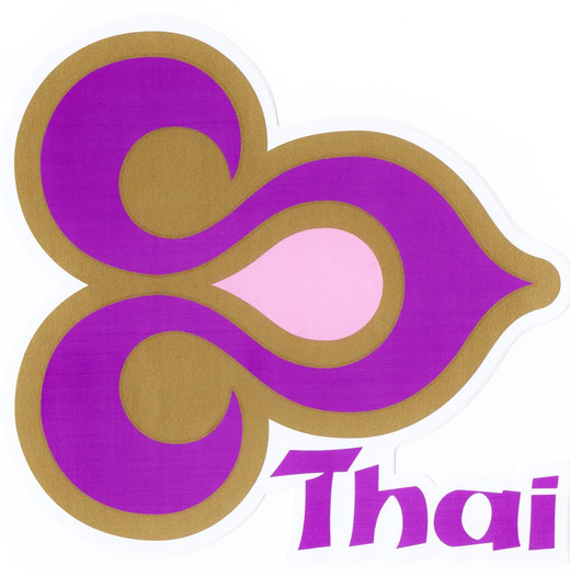 タイ航空 ステッカー(THAILAND AIR WAYS Sticker Purple & Gold) right side type L サイズ (パープル &ゴールド)  1枚 【Thailand Sticker】の商品画像01