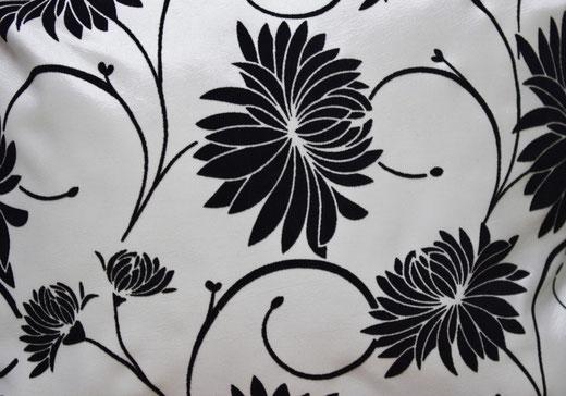 タイシルク クッションカバー  ロータス デザイン ホワイト 【Lotus Design , White】 45×45cm 対応 02