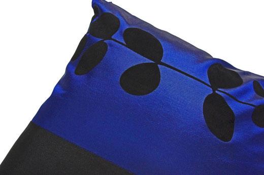 タイシルク クッションカバー  リーフ デザイン ブルー 【Leaf Design , Blue】 45×45cm 対応の商品写真03