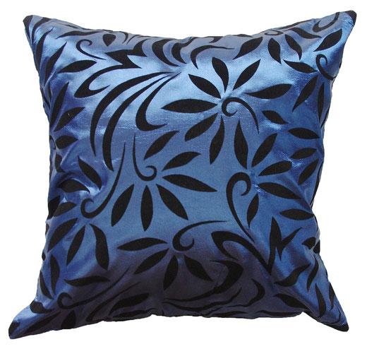 タイシルク クッションカバー  バンコク リーフ デザイン  ブルー   【Bangkok Leaf Design , Blue】 45×45cm 対応 01