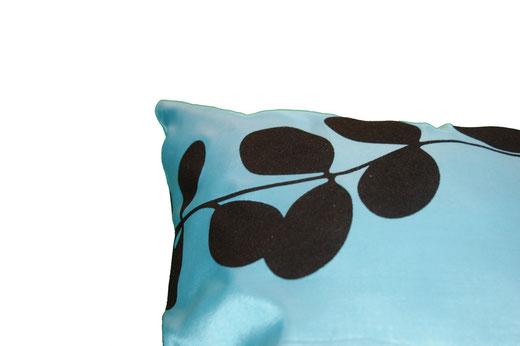 タイシルク クッションカバー  リーフ デザイン アクアブルー 【Leaf Design , Aqua Blue】 45×45cm 対応の商品写真04