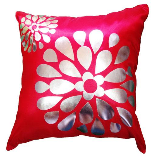 タイシルク クッションカバー  フラワー デザイン レッド 【Flower Design , Red】 45×45cm 対応の商品画像01