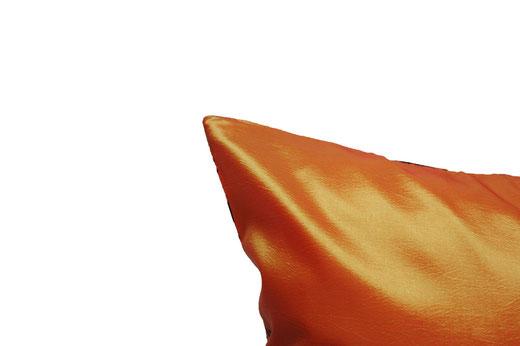 タイシルク クッションカバー  バンコク リーフ デザイン  オレンジ   【Bangkok Leaf Design , Orange】 45×45cm 対応 05