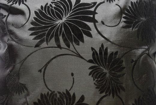 タイシルク クッションカバー  ロータス デザイン ブラック 【Lotus Design , Black】 45×45cm 対応 02