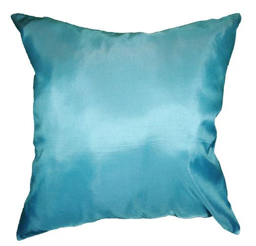 タイシルク クッションカバー  リーフ デザイン アクアブルー 【Leaf Design , Aqua Blue】 45×45cm 対応の商品写真05