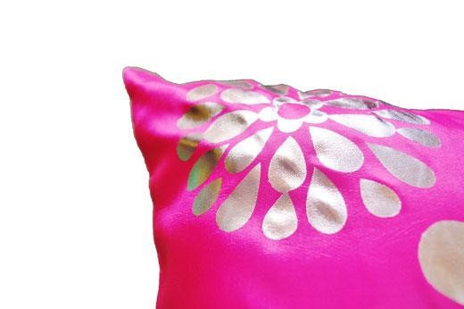 タイシルク クッションカバー  フラワー デザイン ピンク 【Flower Design , Pink】 45×45cm 対応の商品画像04