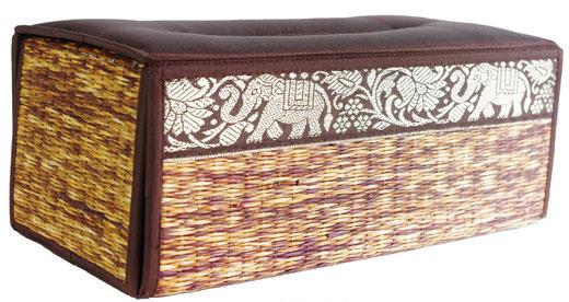 タイシルク アジアン ティッシュ ボックス ケース ブラウン 【Elephant design, Brown】の商品画像02