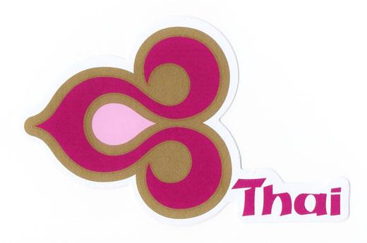 タイ航空 ステッカー(THAILAND AIR WAYS Sticker Magenta & Gold) left side type S サイズ (マゼンタ &ゴールド)  1枚 【Thailand Sticker】の商品画像01
