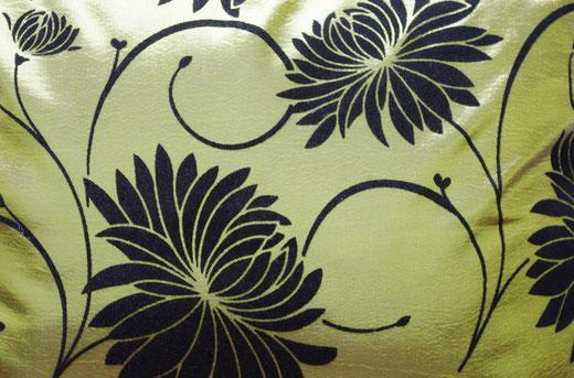 タイシルク クッションカバー  ロータス デザイン グリーン 【Lotus Design , Green】 45×45cm 対応 02