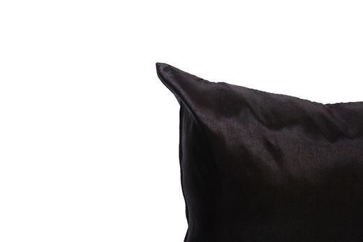 タイシルク クッションカバー  シンプル デザイン ブラック 【Simple Design , Black】 の商品画像02
