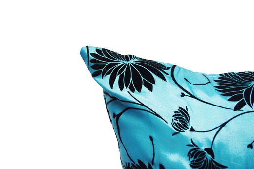 タイシルク クッションカバー  ロータス デザイン ライト ブルー 【Lotus Design , Light Blue】 45×45cm 対応 03