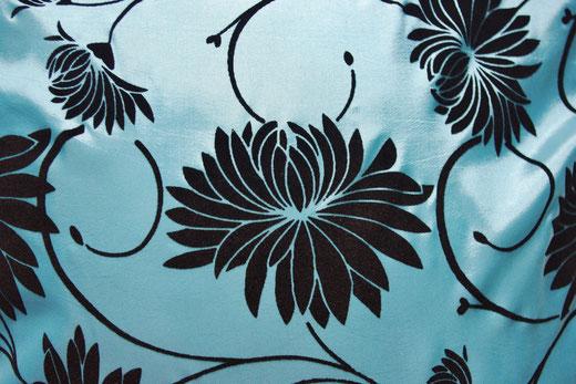タイシルク クッションカバー  ロータス デザイン ライト ブルー 【Lotus Design , Light Blue】 45×45cm 対応 02