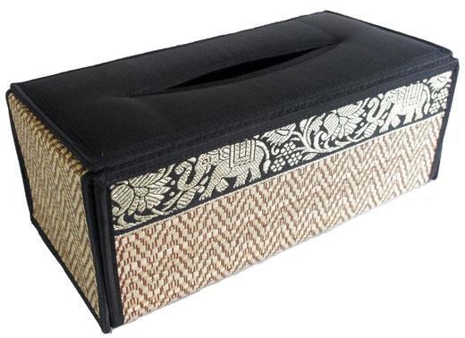 タイシルク アジアン ティッシュ ボックス ケース ブラック 【Elephant design, Black】の商品画像01