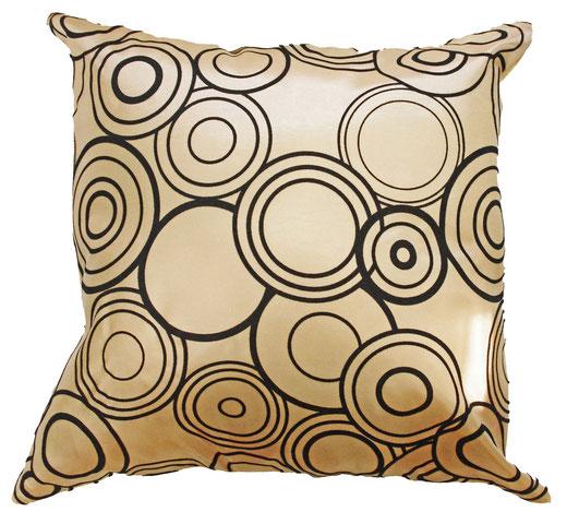 タイシルク クッションカバー  リングデザイン ゴールド 【Ring Design , Gold】 45×45cm 対応の商品写真01