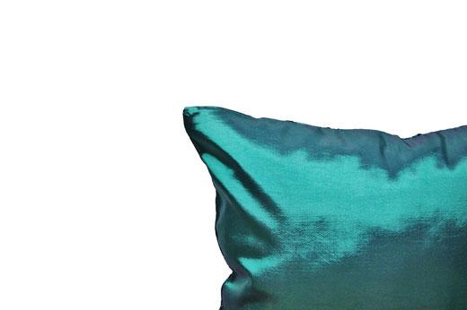 タイシルク クッションカバー  ロータス デザイン エメラルド グリーン 【Lotus Design , Emerald Green】 45×45cm 対応 05
