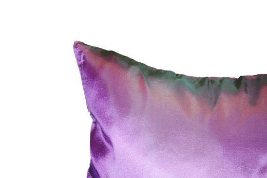タイシルク クッションカバー  リーフ デザイン パープル 【Leaf Design , Purple】 45×45cm 対応の商品画像04