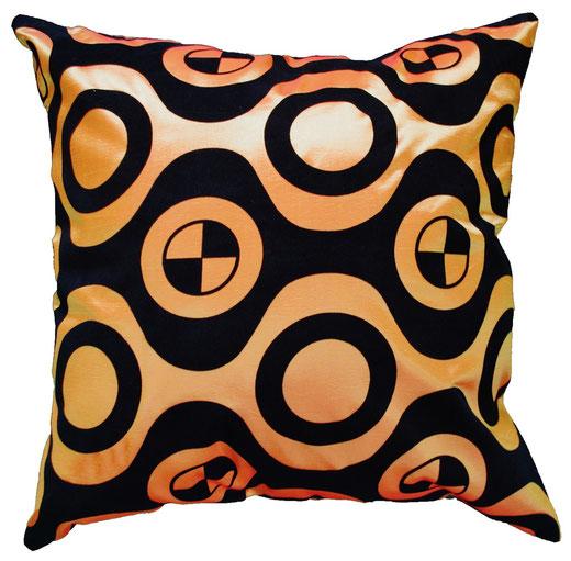 タイシルク クッションカバー  チェッカーデザイン オレンジ 【Checker Design , Orange】 45×45cm 対応の商品写真01