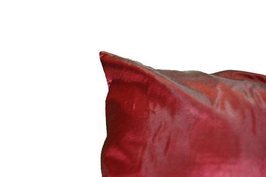 タイシルク クッションカバー  リーフ デザイン ワインレッド 【Leaf Design , WineRed】 45×45cm 対応の商品画像05