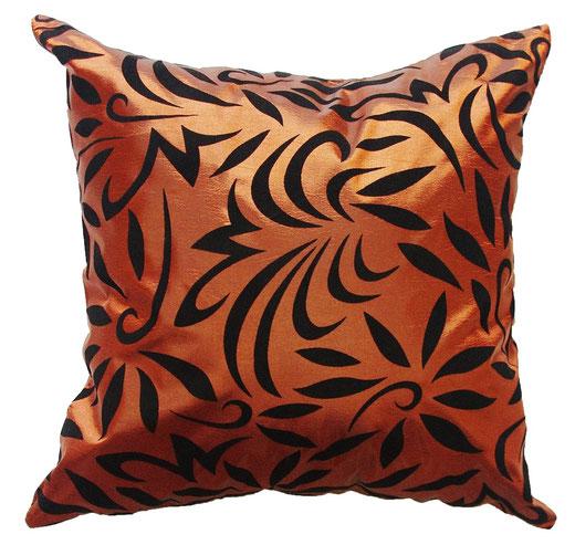 タイシルク クッションカバー  バンコク リーフ デザイン  ブロンズ   【Bangkok Leaf Design , Bronze】 45×45cm 対応 01