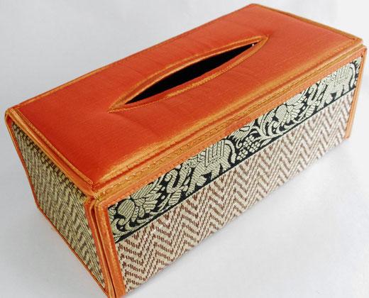 タイシルク(絹) ティッシュボックスケース オレンジ色 商品写真01 [タイ雑貨 アジアン雑貨 インテリア タイ旅行おみやげ]