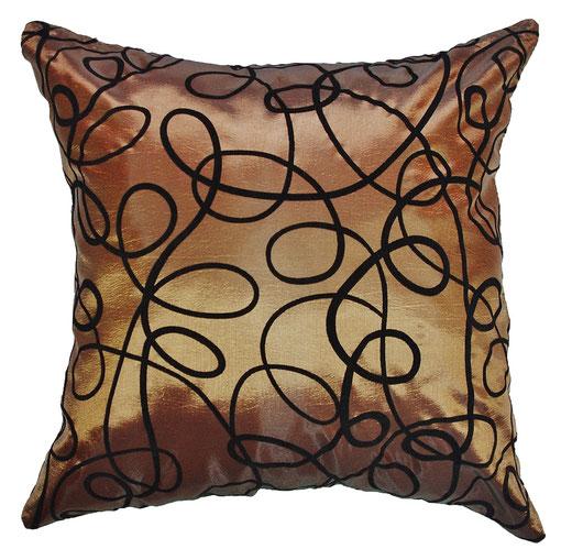 タイシルク クッションカバー  インフィニティ デザイン ブラウン 【Infinity Design , Brown】 の商品画像01