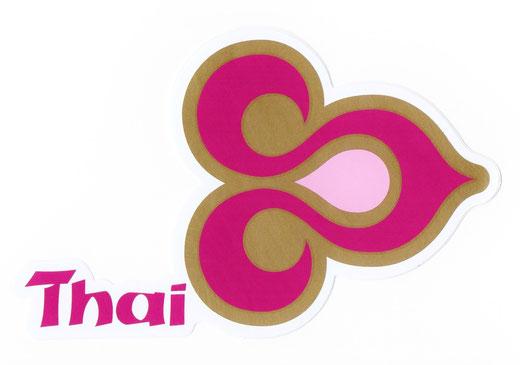 タイ航空 ステッカー(THAILAND AIR WAYS Sticker Magenta & Gold) right side type M サイズ (マゼンタ &ゴールド)  1枚 【Thailand Sticker】の商品画像01