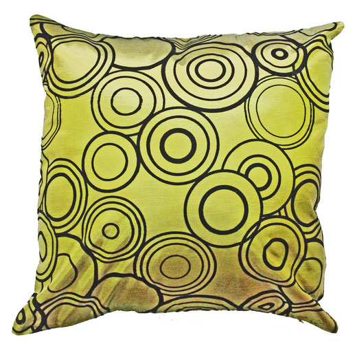 タイシルク クッションカバー  リングデザイン グリーン 【Ring Design , Green】 45×45cm 対応の商品写真