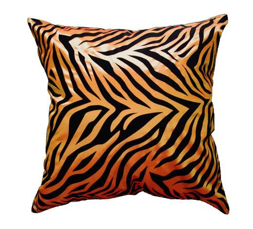 タイシルク クッションカバー  ゼブラ デザイン オレンジ 【Zebra Design , Orange】 45×45cm 対応の商品画像01
