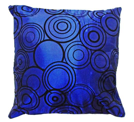 タイシルク クッションカバー  リングデザイン ブルー 【Ring Design , Blue】 45×45cm 対応の商品写真01
