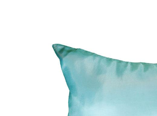 タイシルク クッションカバー  リーフ デザイン アクアブルー 【Leaf Design , Aqua Blue】 45×45cm 対応の商品写真06