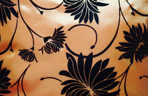 タイシルク クッションカバー  ロータス デザイン オレンジ 【Lotus Design , Orange】 45×45cm 対応 02
