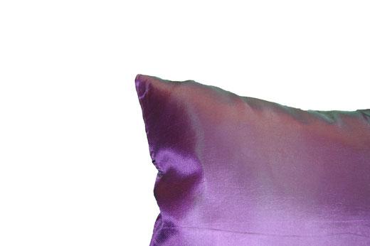 タイシルク クッションカバー  リーフ デザイン パープル 【Leaf Design , Purple】 45×45cm 対応の商品画像05