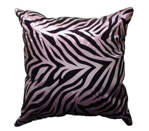 タイシルク クッションカバー  ゼブラ デザイン シルバー 【Zebra Design , Silver】 45×45cm 対応の商品画像01