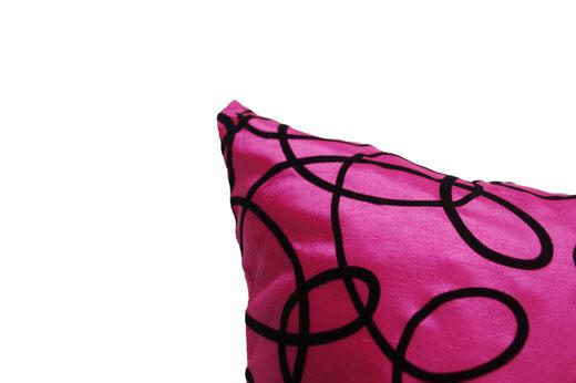 タイシルク クッションカバー  インフィニティ デザイン ピンク 【Infinity Design , Pink】 の商品画像02