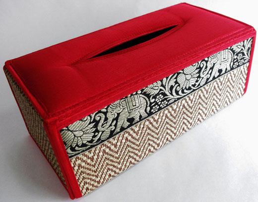 タイシルク(絹) ティッシュボックスケース レッド 赤 商品写真01 [タイ雑貨 アジアン雑貨 インテリア タイ旅行おみやげ]