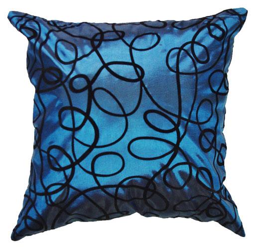 タイシルク クッションカバー  インフィニティ デザイン ターコイズ ブルー 【Infinity Design , Turquoise Blue】 の商品画像01