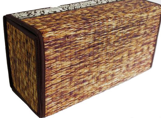 タイシルク アジアン ティッシュ ボックス ケース ブラウン 【Elephant design, Brown】の商品画像03