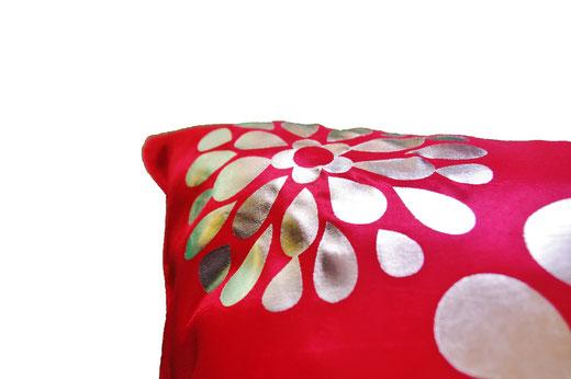 タイシルク クッションカバー  フラワー デザイン レッド 【Flower Design , Red】 45×45cm 対応の商品画像04