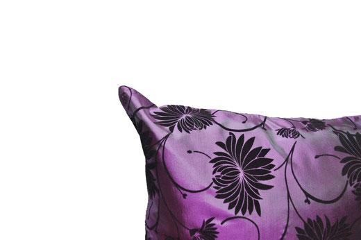 タイシルク クッションカバー  ロータス デザイン パープル 【Lotus Design , Purple】 45×45cm 対応 03