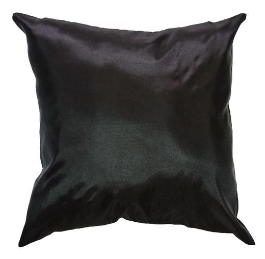 タイシルク クッションカバー  シンプル デザイン ブラック 【Simple Design , Black】 の商品画像01