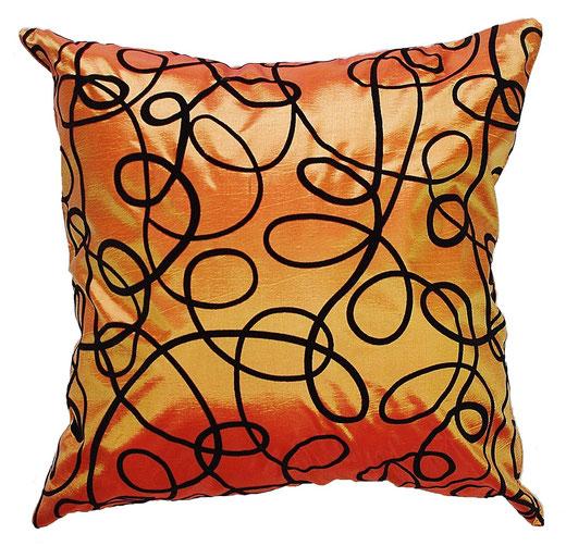 タイシルク クッションカバー  インフィニティ デザイン オレンジ 【Infinity Design , Orange】 の商品画像01