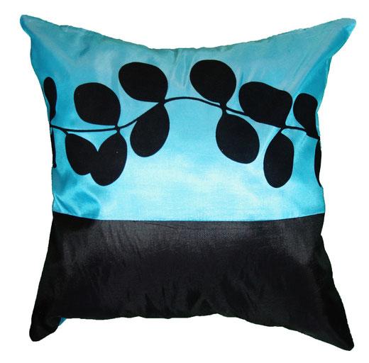 タイシルク クッションカバー  リーフ デザイン アクアブルー 【Leaf Design , Aqua Blue】 45×45cm 対応の商品写真01