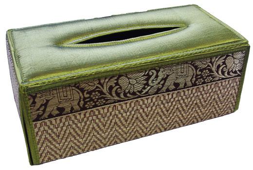 タイシルク ティッシュボックスケース ライトグリーンの商品画像01