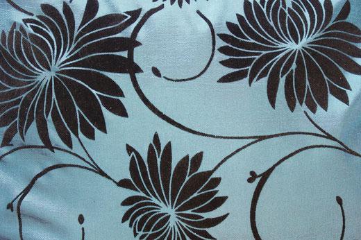 タイシルク クッションカバー  ロータス デザイン ターコイズ ブルー 【Lotus Design , Turquoise Blue】 45×45cm 対応 02
