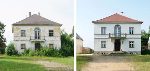 Die Fassade des Gutsherrenhauses, Karlshof Ellingen, vor und nach der Sanierung - die hervorragend gelungene Sanierung einer denkmalgeschützten Immobilie.