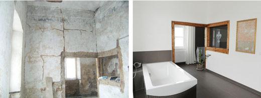 Das Badezimmer des Gutsherrenhauses, vor und nach der Sanierung der denkmalgeschützten Immobilie.